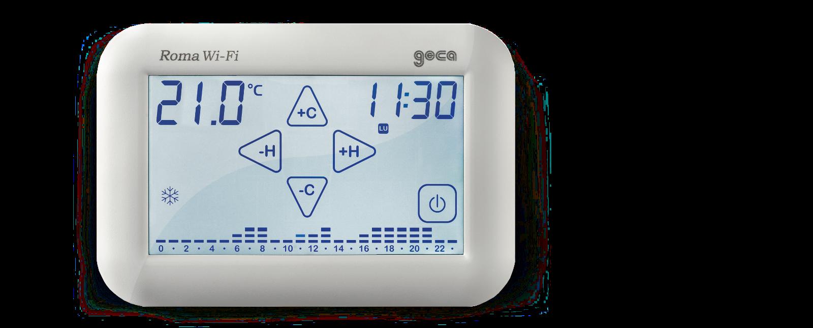 Roma cronotermostati wi fi touch screen for Geca unico termostato istruzioni