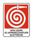 Segnaletica: Non usare su apparecchiature elettriche (Naspo)