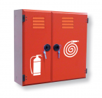 Wall hydrant with fire extinguisher box