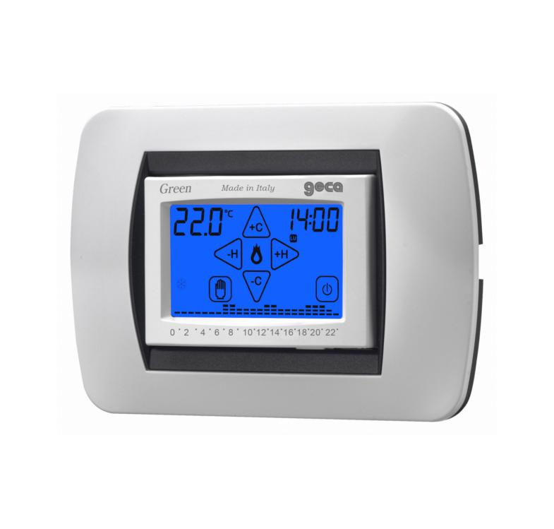Green cronotermostato touch screen da incasso for Geca unico termostato istruzioni