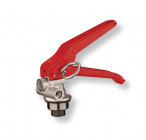 Squeeze-grip valve for stored pressure fire extinguishers 6-12 Kg.